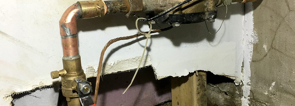 Main water line installed through foundation wall in Toronto