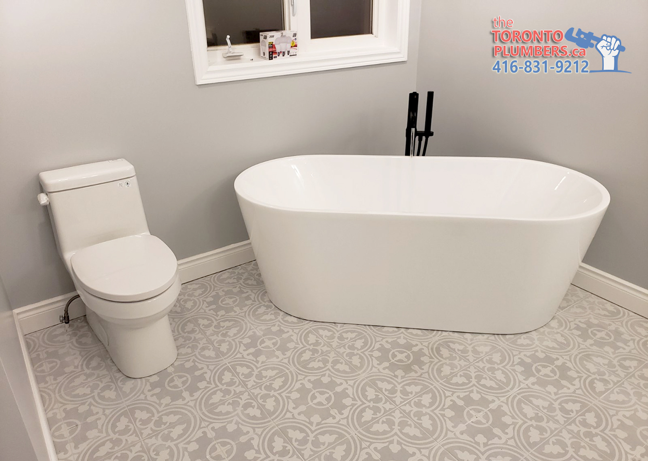 Modern tub and toilet